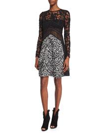 Long-Sleeve Velvet Devore Combo Dress, Black/White