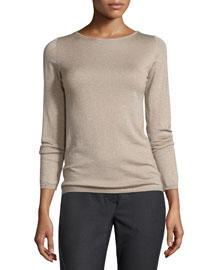 Metallic Cashmere-Blend Long-Sleeve Sweater, Bran