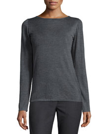 Long-Sleeve Cashmere/Silk Sweater, Charcoal