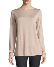 Long-Sleeve Cashmere/Silk Sweater, Cameo