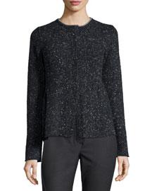 Speckled Piuma Cashmere-Blend Sweater, Onyx