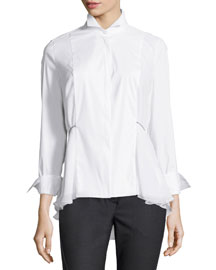 Long-Sleeve Poplin High-Low Blouse, White
