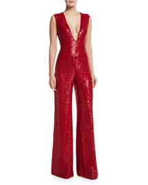 Sleeveless V-Neck Sequin Jumpsuit, Red