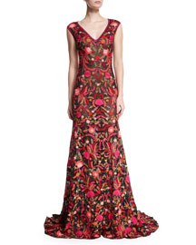 Sheer Embroidered V-Neck Gown, Red/Black