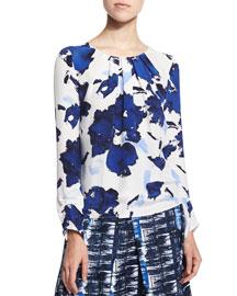 Floral-Print Pleated Silk Blouse, Marine Blue