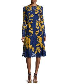 Two-Tone A-Line Lace Dress, Marine Blue