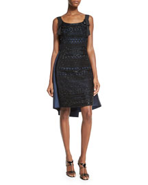 Beaded Cape-Back Sleeveless Dress, Marine Blue