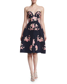 Strapless Sweetheart Embroidered Silk Cocktail Dress, Navy/Pink