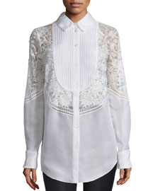 Long-Sleeve Lace-Embroidered Silk Blouse, White