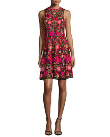 Sleeveless Embroidered Cocktail Dress, Red/Black/Multi
