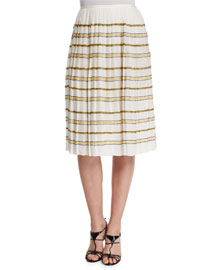 Zigzag Striped Pleated Skirt, Ivory