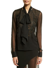 Sheer Long-Sleeve Tie-Neck Blouse, Black