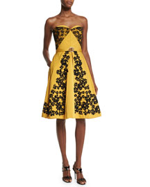 Strapless Lace-Trimmed Faille Dress, Marigold/Black