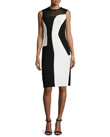 Sleeveless Bicolor Silk Cady Sheath Dress, Black/White