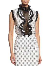 Sleeveless Polka-Dot Ruffled Lace Top, White/Black