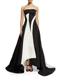 Strapless High-Low Bicolor Silk Gown, Black