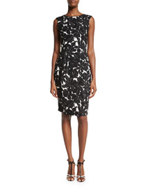 Floral-Print Sleeveless Sheath Dress, Black