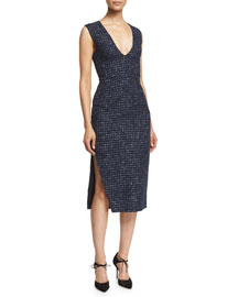 Sleeveless V-Neck Metallic-Tweed Sheath Dress, Navy/Silver
