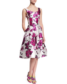 Watercolor Floral-Print Mikado Cocktail Dress, Magenta