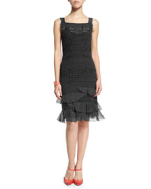 Sleeveless Banded-Lace Dress, Black