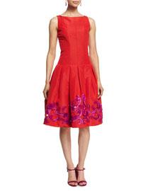Sleeveless Embroidered Silk Faille Dress, Cardinal/Magenta