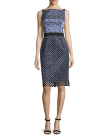 Sleeveless Square-Neck Sheath Dress, Black/Marine