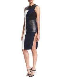 Sleeveless Patchwork Crepe & Leather Dress, Black/Ivory/Navy