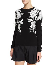 Rose-Embroidered Cashmere Sweater, Black/White
