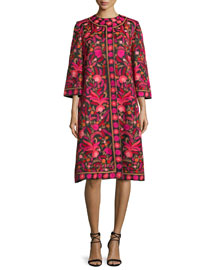 Embroidered Silk 3/4-Sleeve Coat, Red/Black/Multi