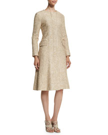 Long-Sleeve Tweed A-Line Coat, Pale Gold