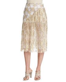 Multi-Lace Asymmetric Ruffle Skirt, Pale Gold