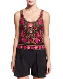 Sleeveless Thread-Embroidered Top, Red/Black/Multi