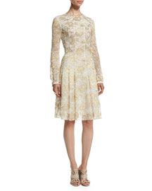 Long-Sleeve Metallic-Lace Dress, Gold