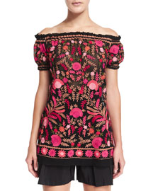 Off-the-Shoulder Embroidered Peasant Blouse, Red/Black/Multi
