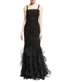 Sleeveless Square-Neck Macrame Organza Gown, Black