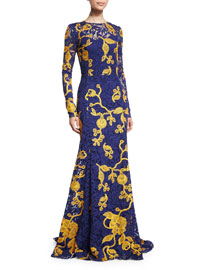 Long-Sleeve Guipure Lace Gown, Marine Blue