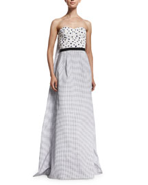 Strapless Cape-Back Embellished Combo Gown, White/Marine