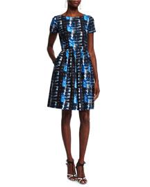 Short-Sleeve Plaid-Print Dress, Marine Blue