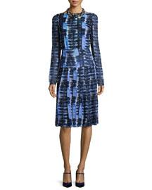 Long-Sleeve Grid-Print Silk Chiffon Dress, Blue/White