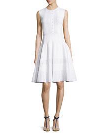 Sleeveless Jewel-Neck Button-Front Dress, White
