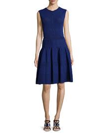 Sleeveless Jewel-Neck Button-Front Dress, Marine Blue