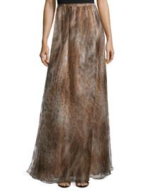 Pleated Silk Maxi Skirt, Brown Leopard