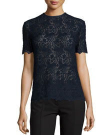 Short-Sleeve Cotton Lace Top, Navy