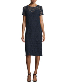 Short-Sleeve Cotton Lace Pencil Dress, Navy