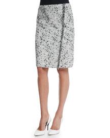 Tweed Frayed-Side Pencil Skirt, Black/White