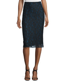 Bicolor Lace Pencil Skirt, Navy