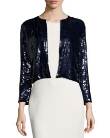 Cropped Long-Sleeve Sequined Jacket, Navy