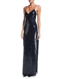 Sequined V-Neck Spaghetti-Strap Gown, Navy