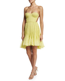 Faye Strapless Pleated Silk Mousseline Dress, Aurora