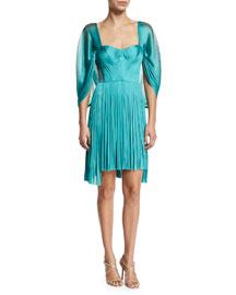 Bliss Pleated Silk-Tulle Cape-Sleeve Dress, Lagoon